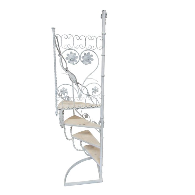 Vintage wrought iron staircase, updated in gloss white finish, custom birch stairs with white stained finish. Mid-century...