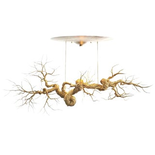 Twisted Brass Wire Chandelier For Sale