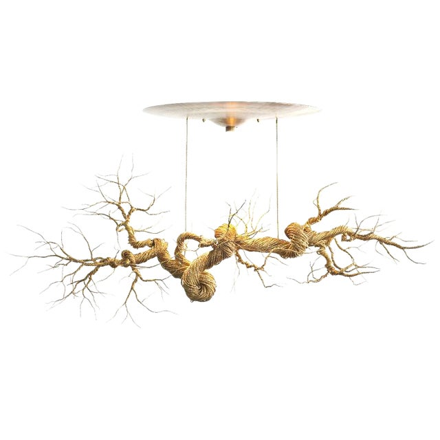 Twisted Brass Wire Chandelier - Image 1 of 3