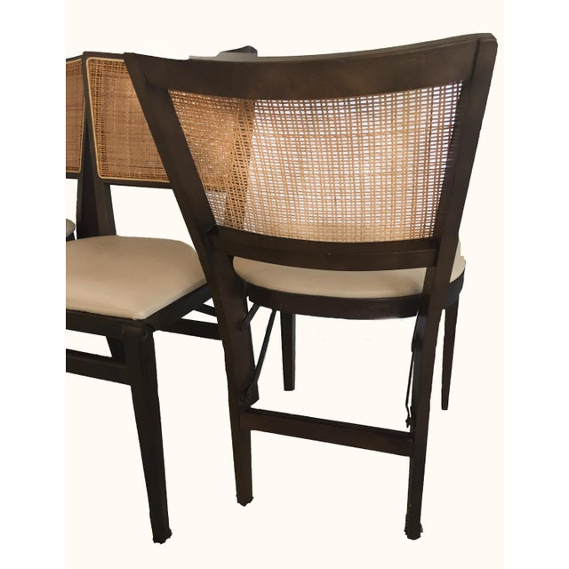 Stakmore Cane amp Walnut Stained Folding Chairs Set Of 4