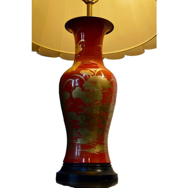 Asian 1960's Vintage Asian Influenced Fire Red Orange Table Lamps- A Pair For Sale - Image 3 of 12