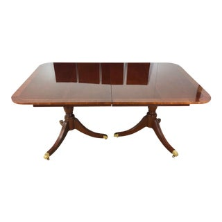 Federal Kindel Double Pedestal Style Banded Inlaid Dining Table For Sale