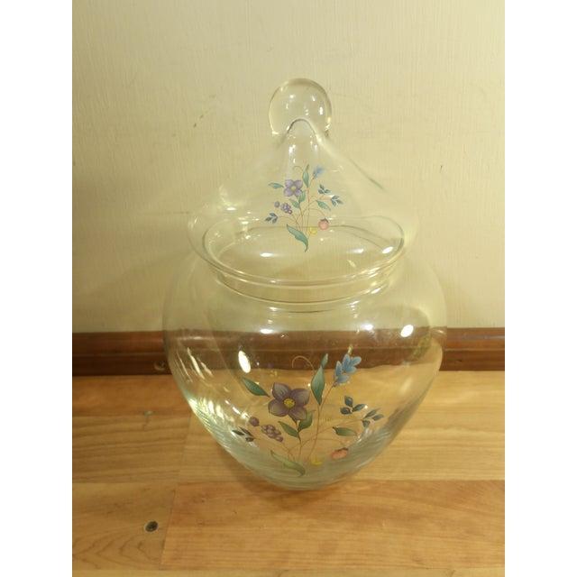 Clear Glass Floral Design Lidded Jar - Image 3 of 6