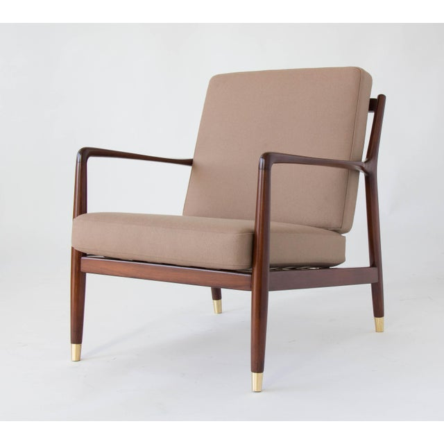 Teak Folke Ohlsson for DUX Brass-Capped Leg Lounge Chairs - a Pair For Sale - Image 7 of 9