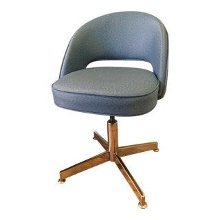 Blue Vinyl Executive Armless Chair With Chrome Base For Sale
