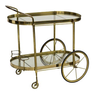 Italian Mid Century Modern Brass & Glass Service Cart, Circa 1960 For Sale