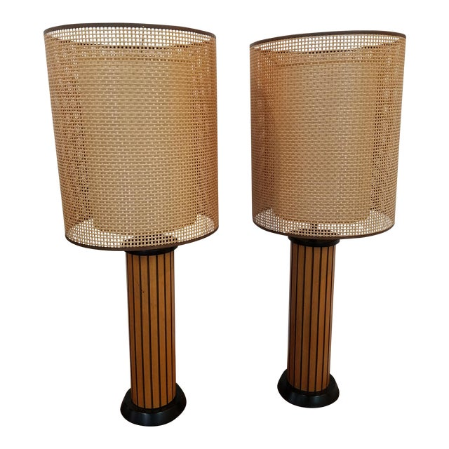 Hans Wegner Wood Strip Lamps - A Pair For Sale