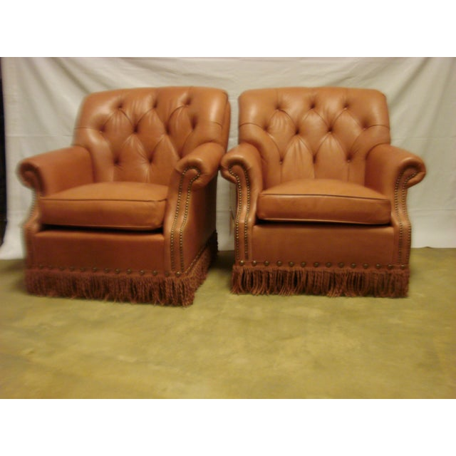 Leather Chairs With Tufting & Fringe - Pair - Image 7 of 7