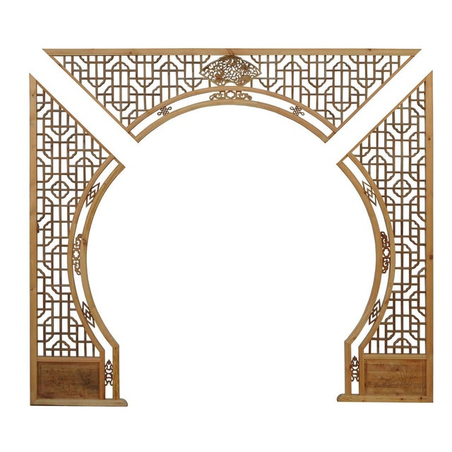 Chinese Light Natural Wood Arch - Image 3 of 10