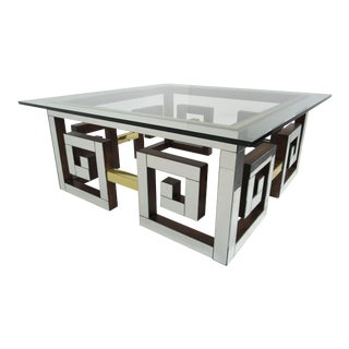 1960s Hollywood Regency Mirror and Glass Coffee Table For Sale