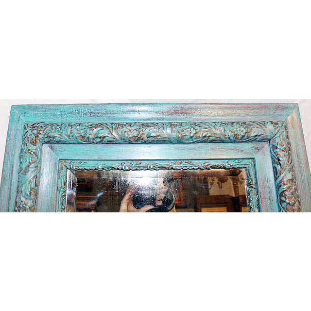 Antique Paint-Washed Beveled MIrror For Sale - Image 4 of 6
