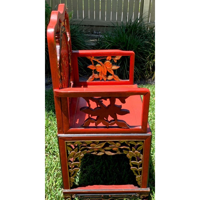 Paint Chinese Red Lacquer and Gilt Throne Chairs - a Pair For Sale - Image 7 of 13