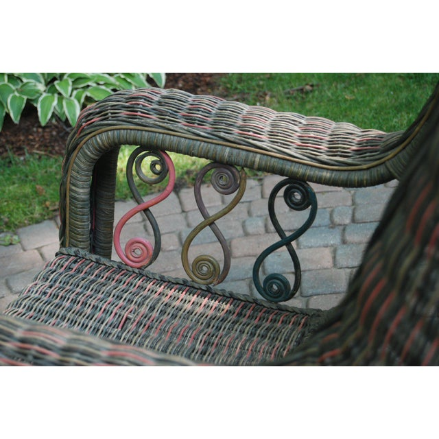 Beaded Green & Red Woven Wicker Rocker For Sale In Detroit - Image 6 of 8
