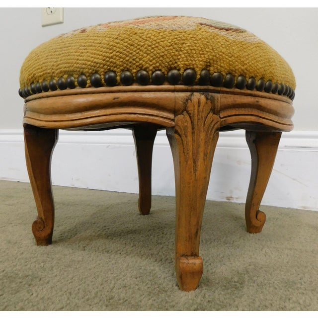 French Louis XV Style Antique Small Needlepoint Footstool For Sale - Image 10 of 13