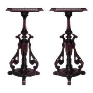 Pair of American Victorian Eastlake walnut pedestals