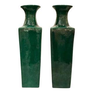 Modern Emerald Glaze Square Flared Top Porcelain Vases Pair For Sale