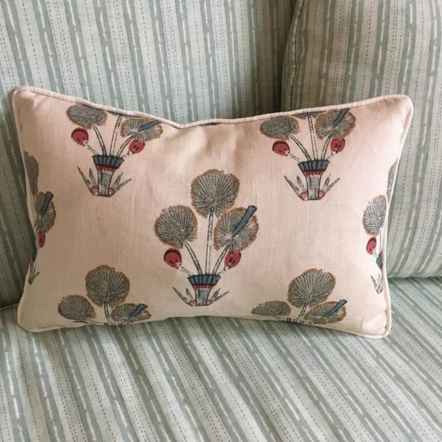 """New unused 12 x 18 lumbar pillow in Katie Leede & Co designer lovely """"Thebes"""" printed linen fabric. Both front and back in..."""