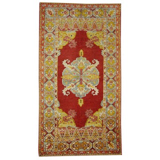 Antique Turkish Oushak Rug with Modern Design in Jewel-Tone Colors For Sale