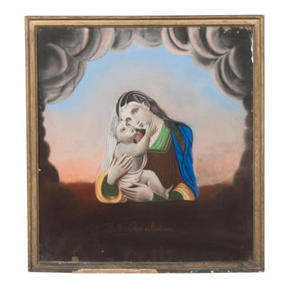 French Early-20th Century Drawing of the Madonna and Child For Sale