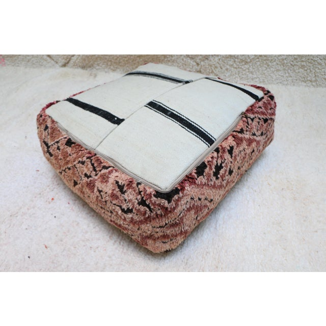 Moroccan Mauve Unstuffed Pouf Cover For Sale - Image 9 of 11