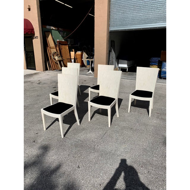 Hollywood Regency 1970s Enrique Garcel Tessellated Bone Dining Chairs - Set of 6 For Sale - Image 3 of 13