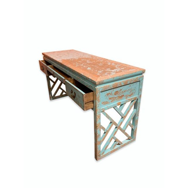 Chinese Asian Distressed Panel Legs Desk For Sale - Image 3 of 6