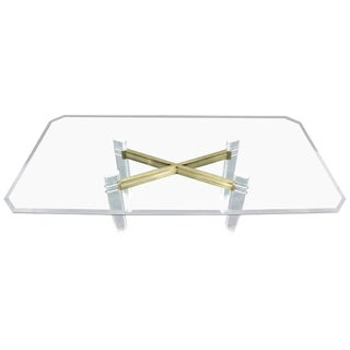 Large Glass Top Lucite and Brass Base Conference Dining Table atr. Mastercraft For Sale