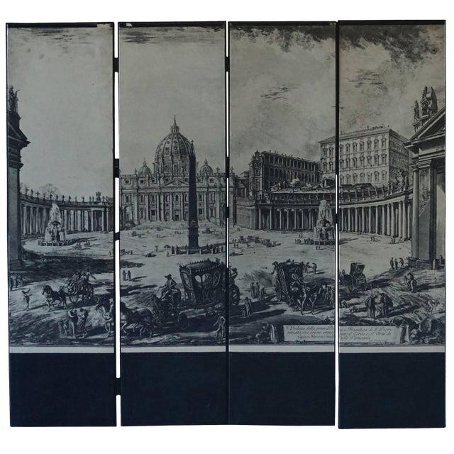 Mid-Century Modern Italian Four-Panel Room Screen After Piranesi For Sale