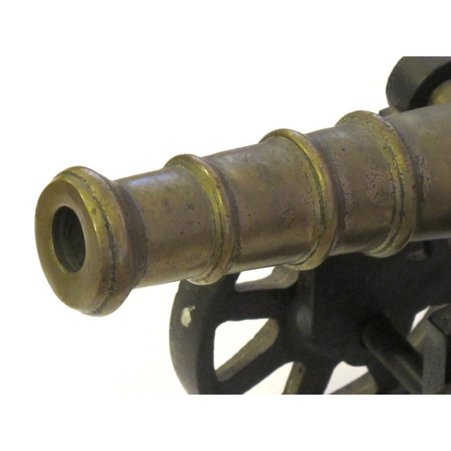 1900 - 1909 English Victorian Brass Ornamental Signal Cannons on Cast Iron Carriages - a Pair For Sale - Image 5 of 9