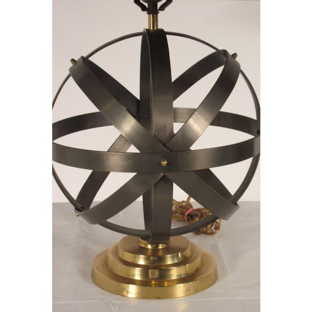 1970s Metal Orb Lamp With Metal and Brass Shade For Sale - Image 4 of 12