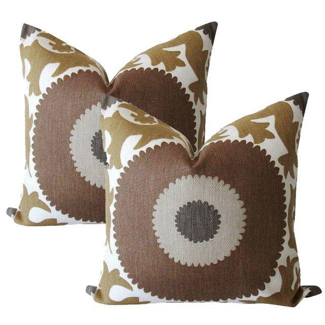 Boho Chic Taupe Gulkurpa Suzani Pillows - a Pair For Sale - Image 3 of 3