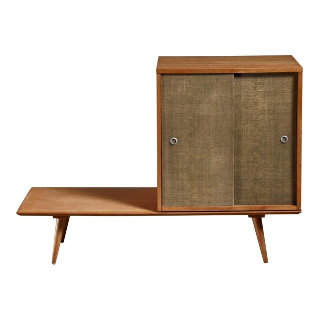 Paul McCobb Planner Group Bench and Grass Cloth Sliding Door Unit For Sale