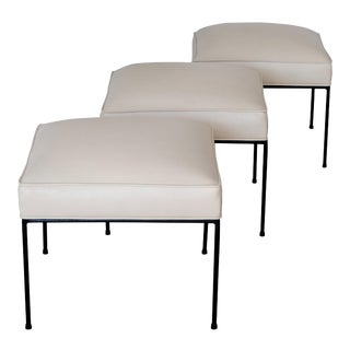 Set of Three Paul McCobb White and Black Iron Stools For Sale