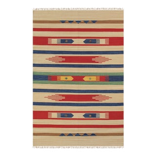 Anatolian Hand-Woven Cotton Rug - 5' X 8' For Sale