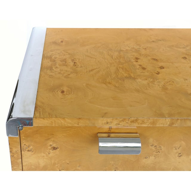 Leon Rosen Pace Collection Burlwood Credenza With Stainless Steel Accents For Sale In Miami - Image 6 of 10