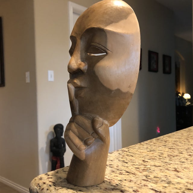Boho Chic Vintage Carved Wood Face & Hand For Sale - Image 3 of 10