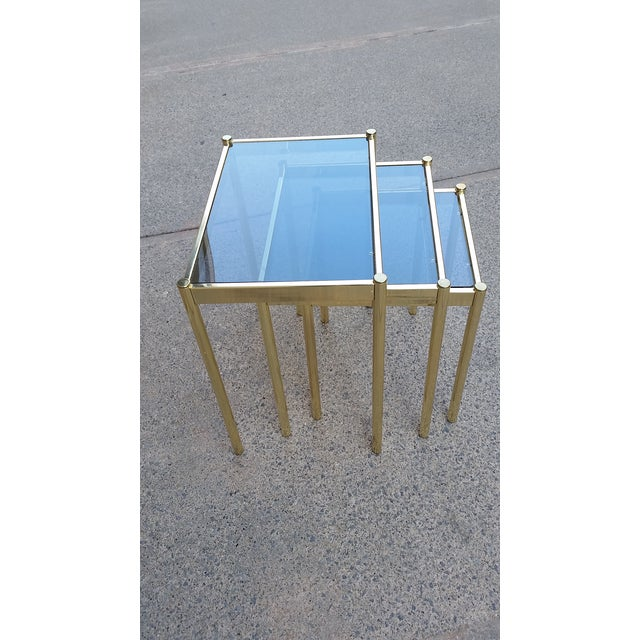 Hollywood Regency Brass & Smoke Glass Nesting Tables - Set of 3 - Image 9 of 9
