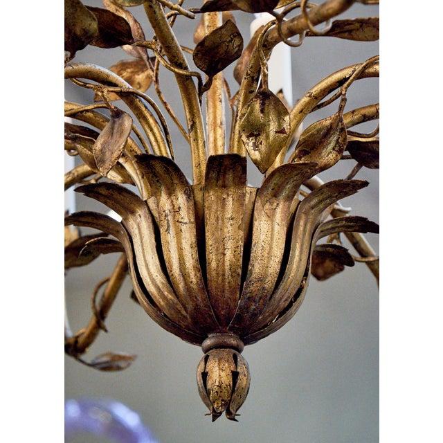 Gold Leaf Vintage Gold Leaf Tole Chandelier For Sale - Image 7 of 10 - Vintage Gold Leaf Tole Chandelier Chairish