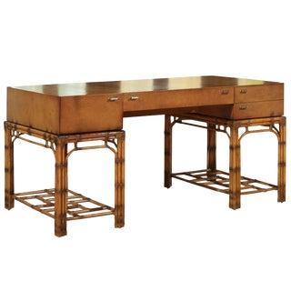 Stunning Restored Vintage Double Pedestal Campaign Desk in Birdseye Maple For Sale