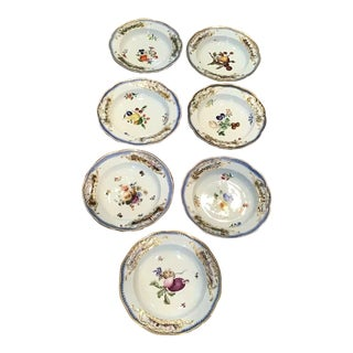 19th Century Antique Meissen Porcelain Soup Plates - Set of 7 For Sale