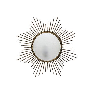 1960s French Gilded Iron Sunburst Mirror For Sale
