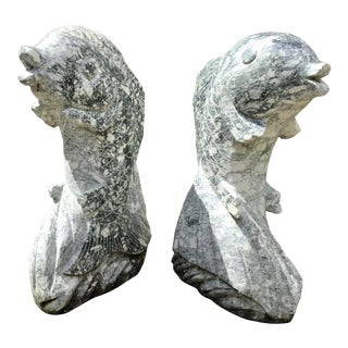 Dolphin Sculpture Carved Marble- a Pair For Sale