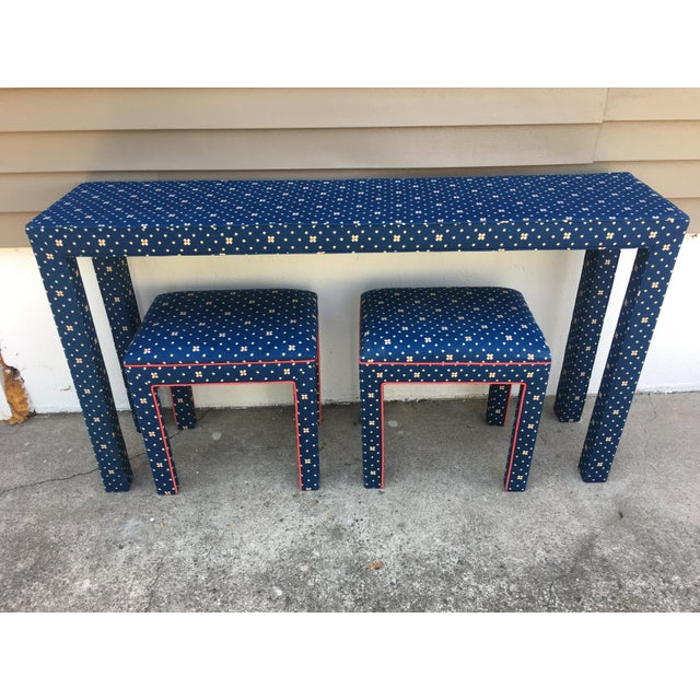 1970s 1970s Mediterranean Blue Upholstered Parsons Table With Matching Benches - 3 Pieces For Sale - Image 5 of 12