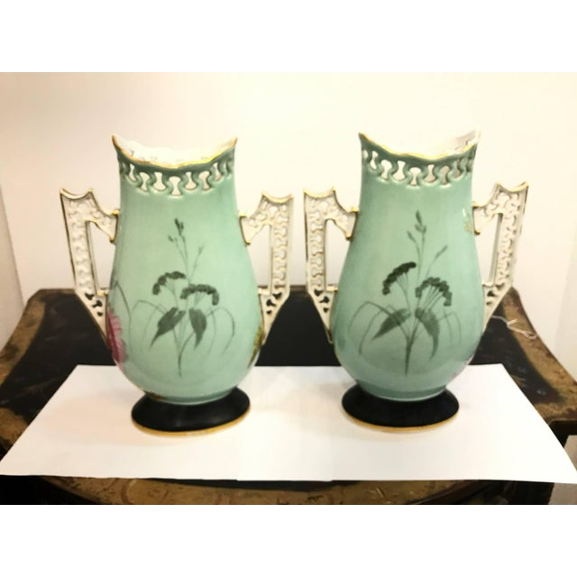 19th Century French Porcelain Hand-Painted Vases - a Pair For Sale - Image 4 of 10