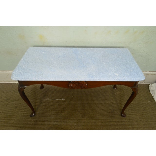 Kittinger Colonial Williamsburg Cwiss Mahogany Marble Top Mixing Table Console For Sale - Image 10 of 13