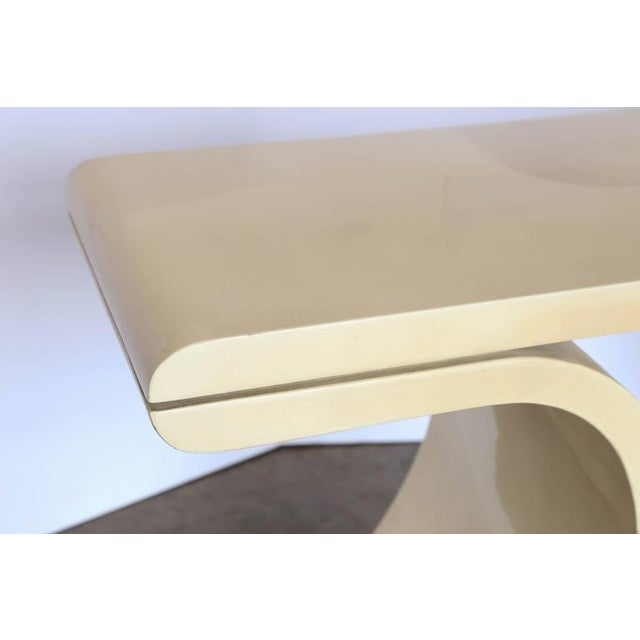 Mid Century Modern Lacquered Goat Skin Console Table in the Manner of Karl Springer - Image 5 of 10