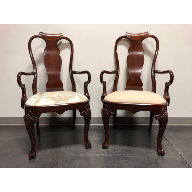 Solid Mahogany Queen Anne Dining Captain's Arm Chairs - Pair For Sale - Image 10 of 11