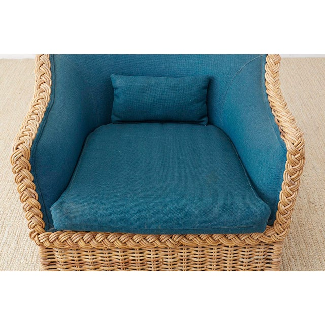 Mid 20th Century Pair of McGuire Rattan Wicker Lounge Chairs and Ottoman For Sale - Image 5 of 13