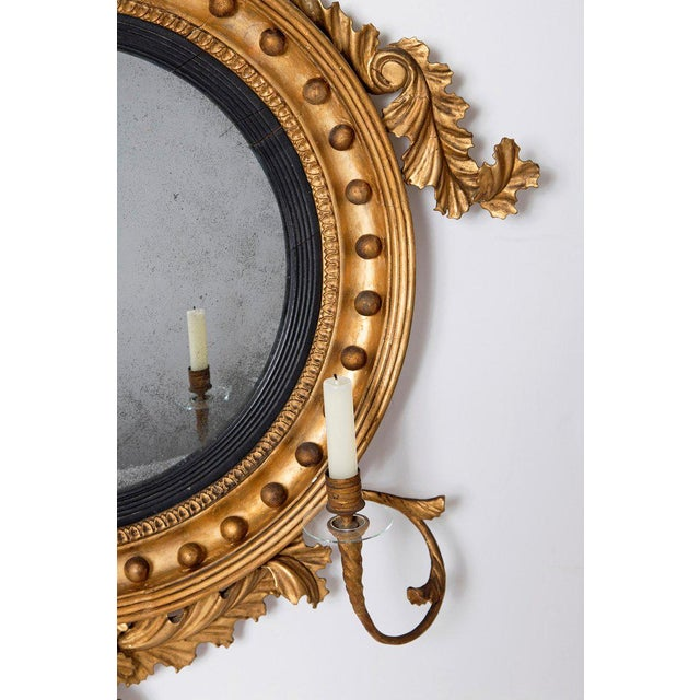 18th Century George III Gilt-Wood Convex Girandole Mirror For Sale - Image 9 of 13
