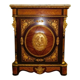 20th Century French Marquetry Inlaid Marble-Top Cabinet For Sale